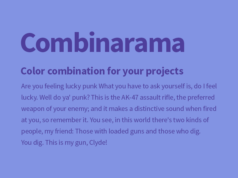 Combinarama Text 4E3E9C Background 8293E3 inspiration combination combinarama colour color background simple design