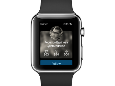 Twitter profile rebound watch follow profile ui twitter rebound apple watch apple