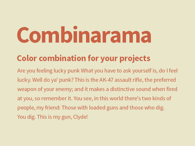 Combinarama Text CA6144 Background E9E6C9 inspiration combination combinarama colour color background simple design