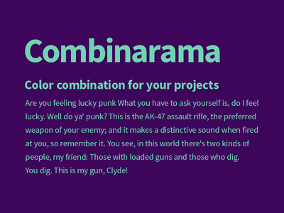 Combinarama Text 70D4B4 Background 3D065A combinarama inspiration combination colour color background simple design