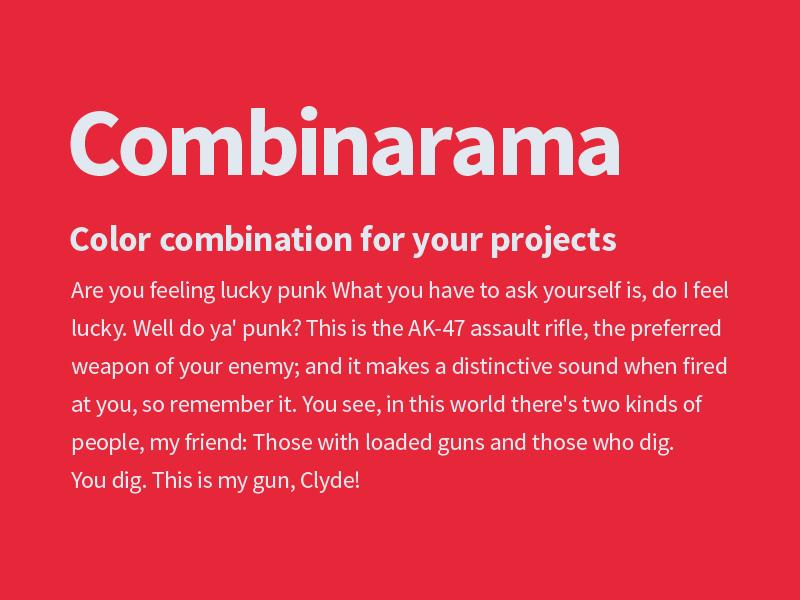 Combinarama Text E1E8F0 Background E62739 inspiration combination combinarama colour color background simple design