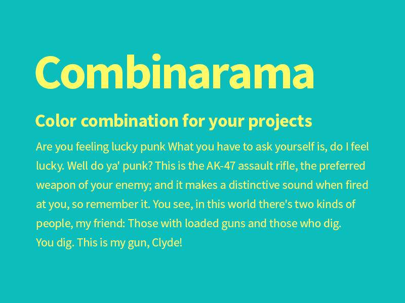Combinarama Text FFF967 Background 0BBEBC combinarama inspiration combination colour color background simple design