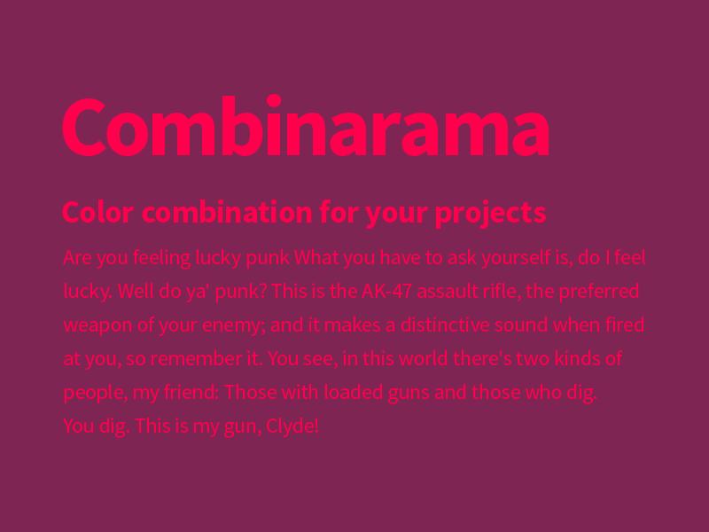 Combinarama Text FF004D Background 7E2553 combinarama inspiration combination colour color background simple design