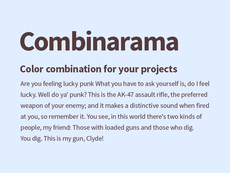 Combinarama Text 543A3A Background E1EEFF combinarama inspiration combination colour color background simple design