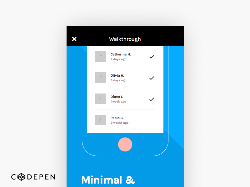 Invision Chat UI Screen 1-3 (codepen) share free code kit invision html css codepen chat ui