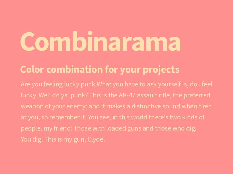 Combinarama Text FFE1AF Background FF9090 combinarama inspiration combination colour color background simple design