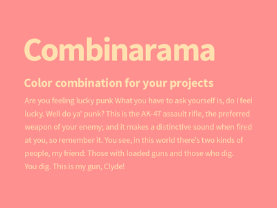 Combinarama Text FFE1AF Background FF9090 combinarama inspiration combination colour color background simple design