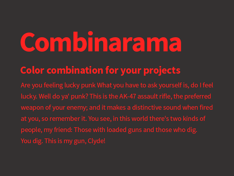 Combinarama Text FF2321 Background 343131 combinarama inspiration combination colour color background simple design