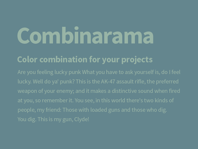 Combinarama Text 98B4A6 Background 64868E combinarama inspiration combination colour color background simple design