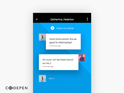 Invision Chat UI Screen 1-6 (codepen) share free code kit invision html css codepen chat ui
