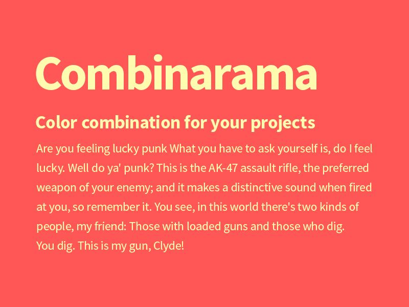 Combinarama Text FFFBAF Background Ff5656 combinarama inspiration combination colour color background simple design