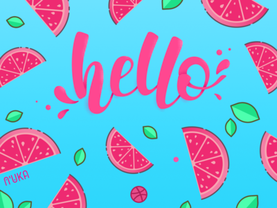 Hello dribbble lettering dribbble tangerine juice vector flat typography design illustration