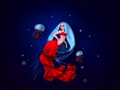 jellyfish digital painting digitalart photoshop