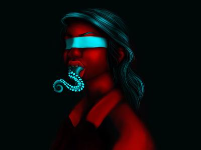 lady octopus digital painting digitalart photoshop illustration art illustration