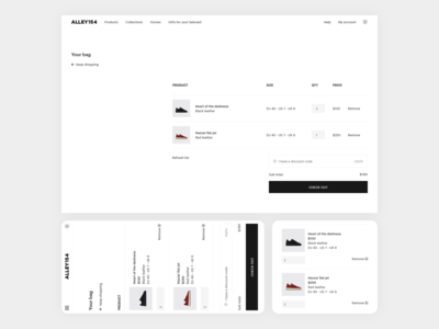 Responsive Minimal Ecommerce Website Checkout Stage