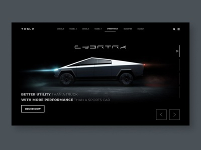 Cybertruck Tesla Concept Redesign interactiondesign utility perfomance teslacybertruck interface tesladesign mockup ilon mask teslamotors car site animation website web ux ui concept tesla cybertruck