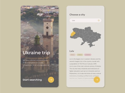 Ukraine trip places tourism lviv concept web app website site ux ui traveling travel app trip ukraine design