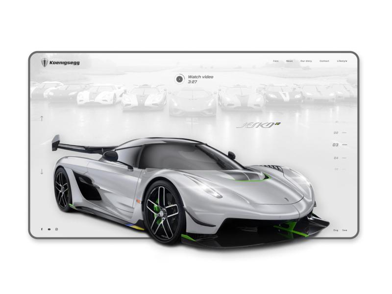 Koenigsegg Website Redesign interactiondesign agera regera speed jesko mockup interaction site animation website concept web historical sportcar car koenigsegg ux ui