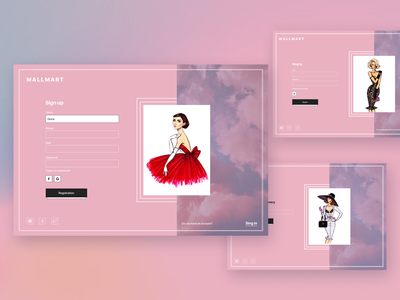 Sign up / Sing in forms for a clothing store website ecommerce shop ui ux design web