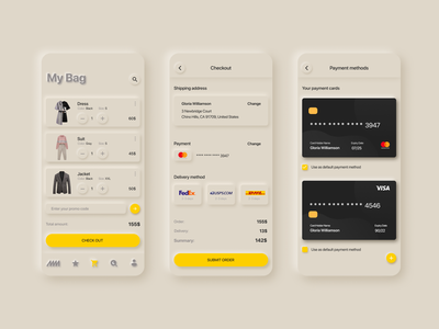 Bag - E-commerce Experience neumorphism checkout typography light clean store shop iphone ios app card design pay e-commerce fasion ecommerce flat minimal ux ui