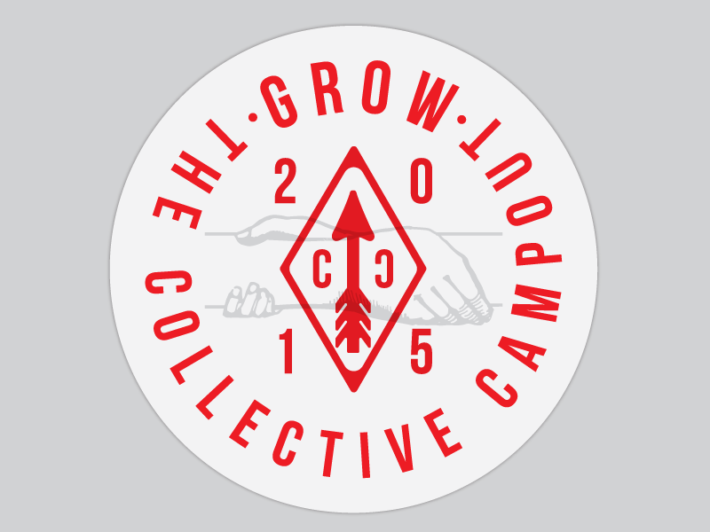 CC - Grow Button create learn team gray red logo badge triangle arrow hands grow collective campout