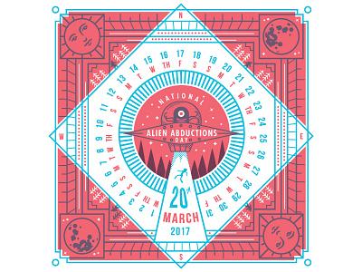 DH Calendar – March sasquatch moon sun letterpress abduction march calendar illustration aliens