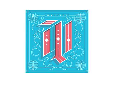 Dh Calendar March latin march letterpress blackletter m gothic drop cap