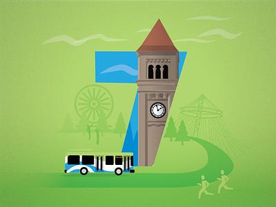 7 - STA Visit Spokane spokane flat illustration runners ferris wheel bus tower clock clock tower 7