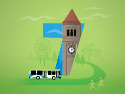 7 - STA Visit Spokane spokane flat illustration runners ferris wheel bus tower clock clock tower 7