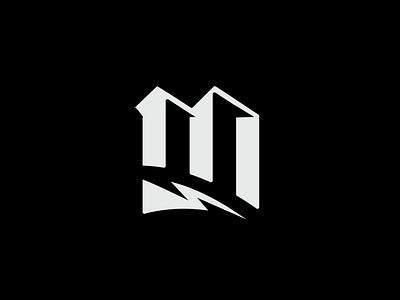 M logo design lightning bolt lightning logo mark logo blackletter