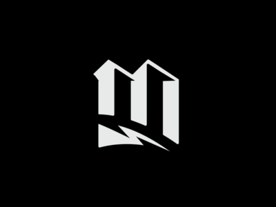 M logo design lightning bolt lightning logo mark logo blackletter