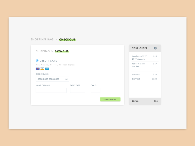 #002 Checkout visualdesigner sketch visualdesign ui dailyui uichallenge checkout