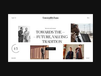 Zegna — 01 web ui concept design minimal design typography