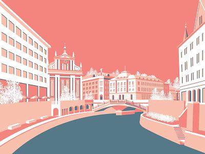 Ljubljana, Slovenia vector illustration city guide environment graphic design design graphic art illustrations illustration flat vector cityscape city slovenia ljubljana