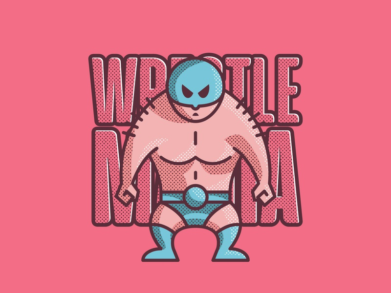 WrestleMania sports wrestler wwe character graphic design design graphic art vector illustration wrestling