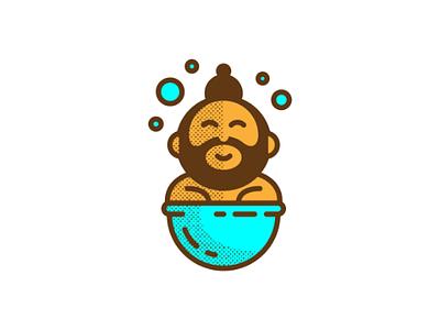 Remember to bathe tub bath happy beard washing bathing vector graphic design graphic design character digital illustration