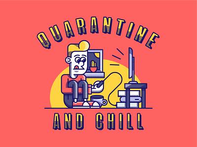 Quarantine and chill drawing graphic art vintage retro virus corona graphic design design character chill illustrator video games gaming vector illustration