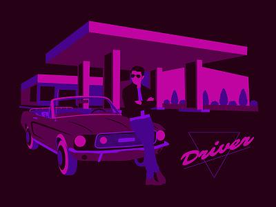 Neon Driver retro neon motorsport racing cars car driver flat graphic design art vector illustration design graphic