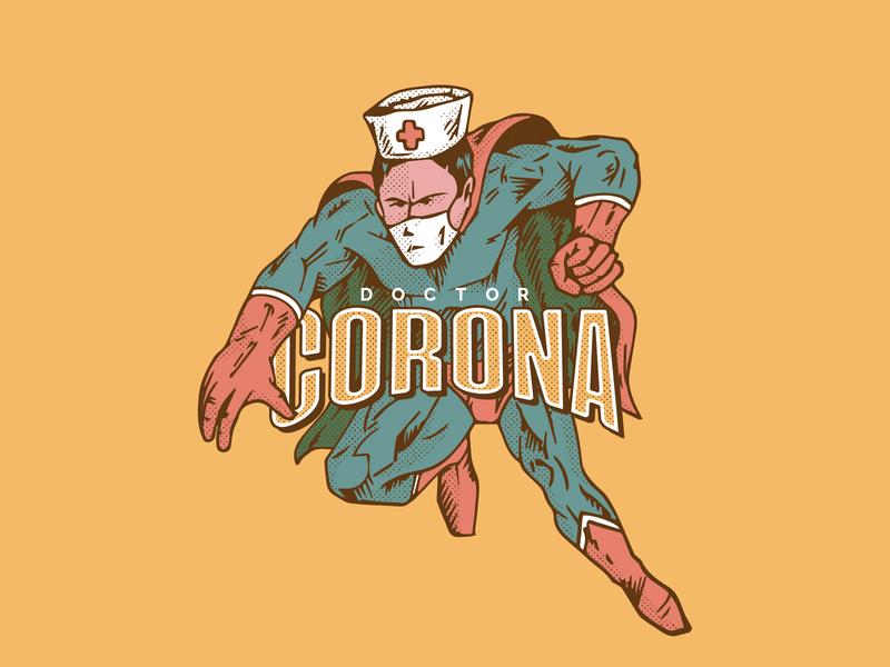 Doctor Corona is here to save the world doctor vintage drawing virus corona character graphic design art vector illustration superhero comic retro design graphic