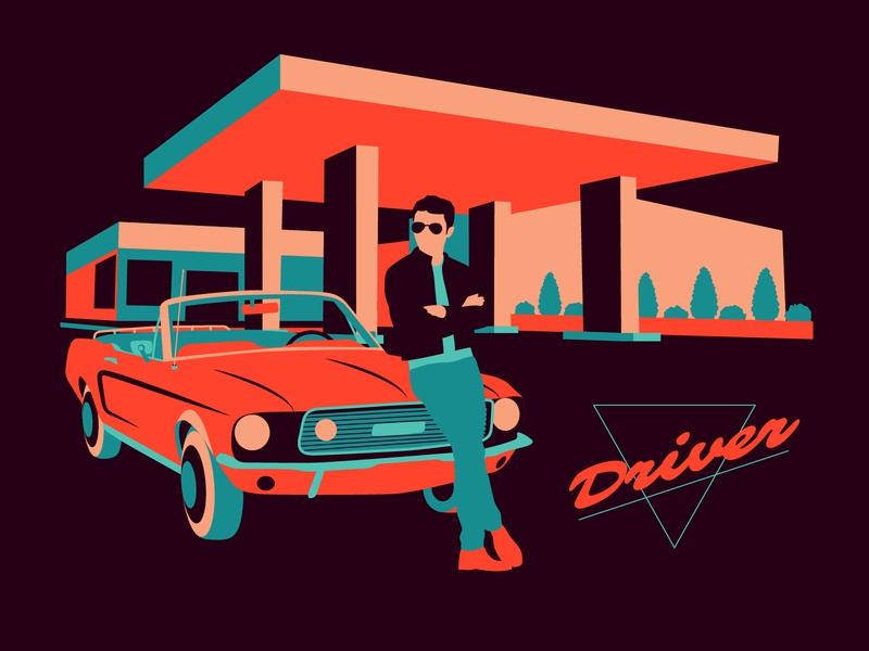 Neon Driver 2.0 neon driving motorsport gas station car driver flat character graphic design art vector illustration design graphic