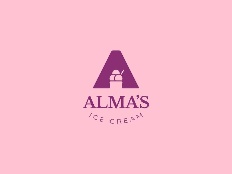 Alma's Ice Cream logo concept shop business brand identity icon graphic design art illustration vector graphic design logo company ice cream