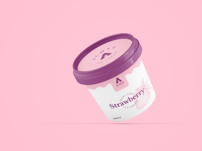 Strawberry ice cream tub packaging concept identity branding graphic design graphic design packaging tub ice cream