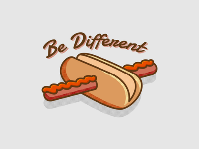Be Different food apparel print typography type hot dog graphic design design graphic art illustration