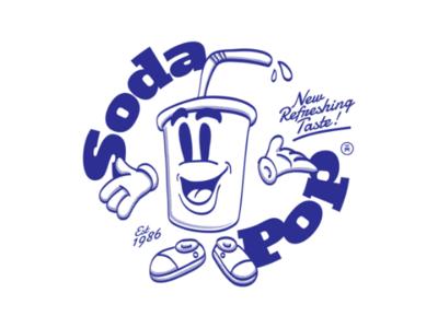 Soda Pop typography character cartoon comic drawing illustration design graphic art print tshirt lemonade soda vintage retro
