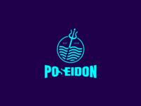 Poseidon God of the Sea logo concept