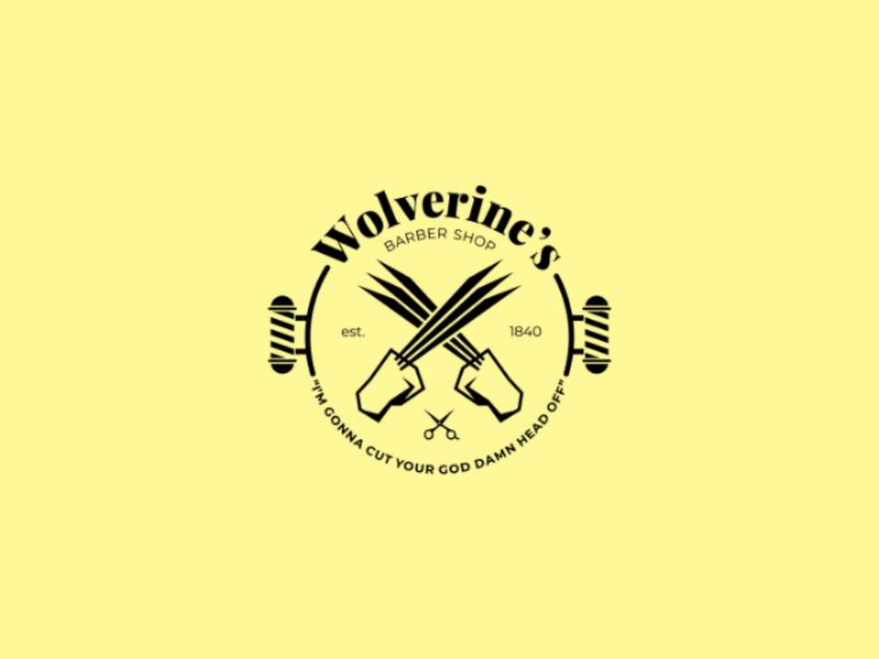 Wolverine's Barber Shop shop barber graphic graphic design design identity brand branding logo comics comic superhero marvel wolverine