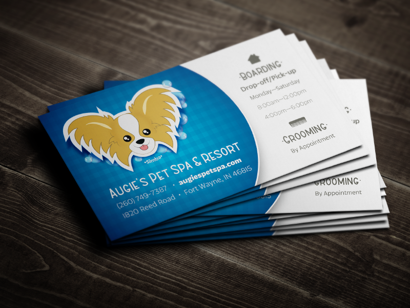 Augies Pet Spa and Resort business card branding icons photoshop illustrator mockup