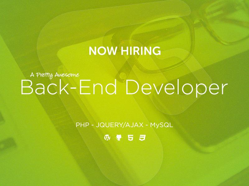 Backend Developer Wanted backend developer web developer php hiring wordpress freelance remote website