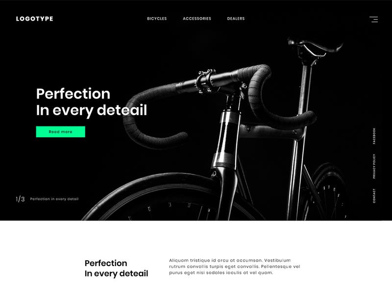 Bike Landing Page High Contrast concept interface design home minimal web design web landing page bike ux ui