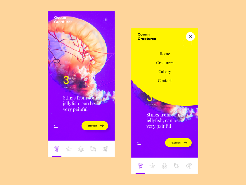 Ocean Creatures Fun Facts Concept App ocean yellow violet contrast mobile app ux ui interface concept design